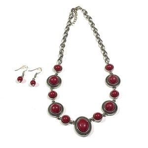 Jewelry - Beaded Chunky Style Ruby Stone Gem Necklace Set
